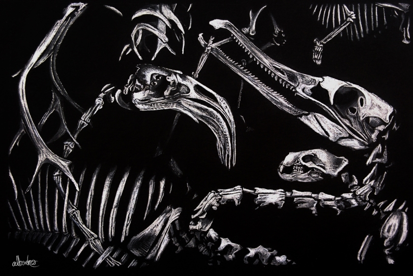 White Charcoal & Pen on Black Card, 25 x 35cm, 2015 ©Alexander Barnes-Keoghan